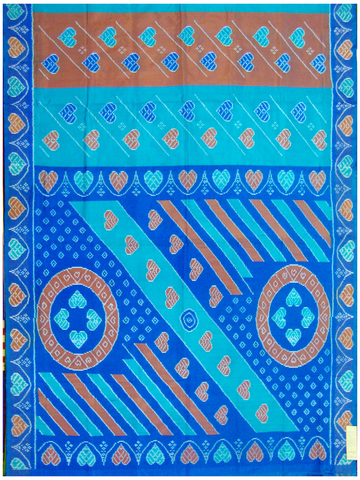 Brick and Cyan Handloom Ikat Silk Saree