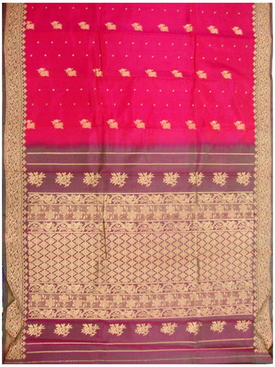 Kotthakota Pure Silk Saree Scarlet shade