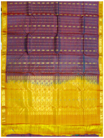 Dharmavaram Pure silk saree Mixed shade of Blue and Mehroon