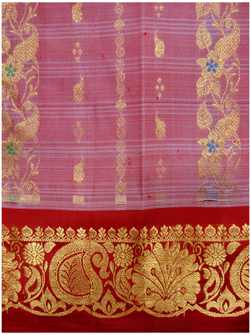 Dharmavaram Pure Silk Fancy saree Mix shades of Red and Pink