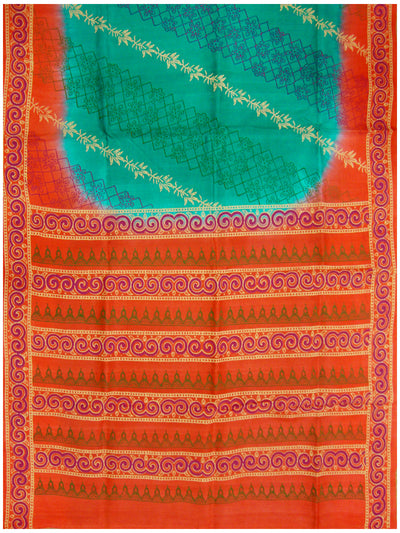 Printed silk saree with Turquoise Blue shade