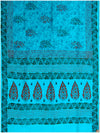 Printed silk saree with Light Turquoise Blue shade