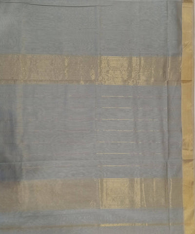 Maheshwari Blue Grey Handloom Cotton Silk Saree