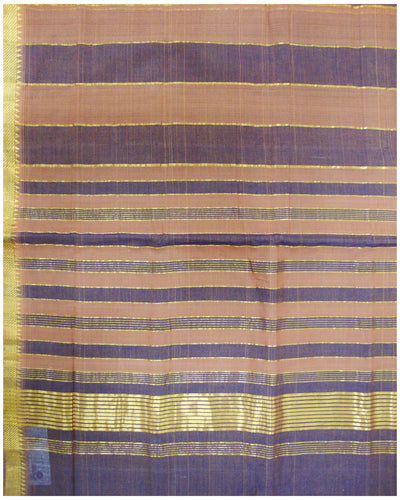 Mangalagiri Cotton saree Brown ans Violet