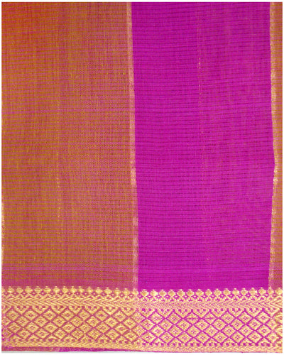 Mangalagiri Cotton saree Crison and Brown Shade