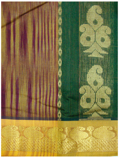 Chirala Fancy Cotton Saree Green and Mustered Stripes