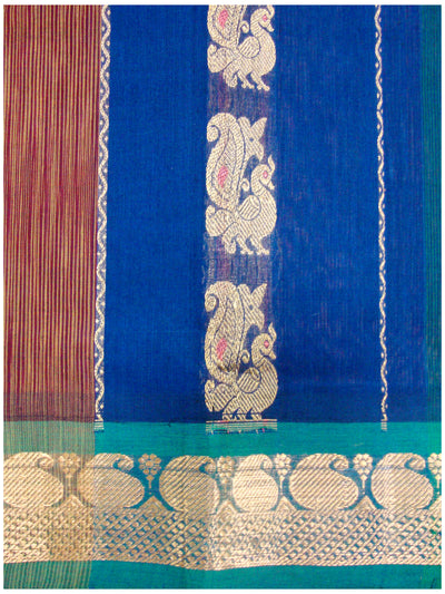 Chirala Fancy Cotton Saree Blue and Maroon