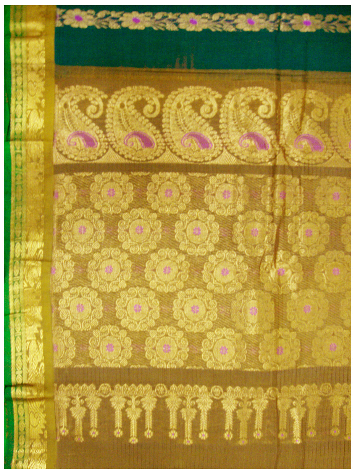 Chirala NIFT Gadwal cotton saree Emerald green Shade