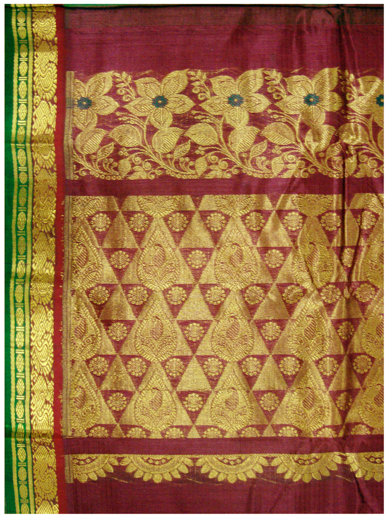 Chirala NIFT Gadwal cotton saree Olive Green Shade