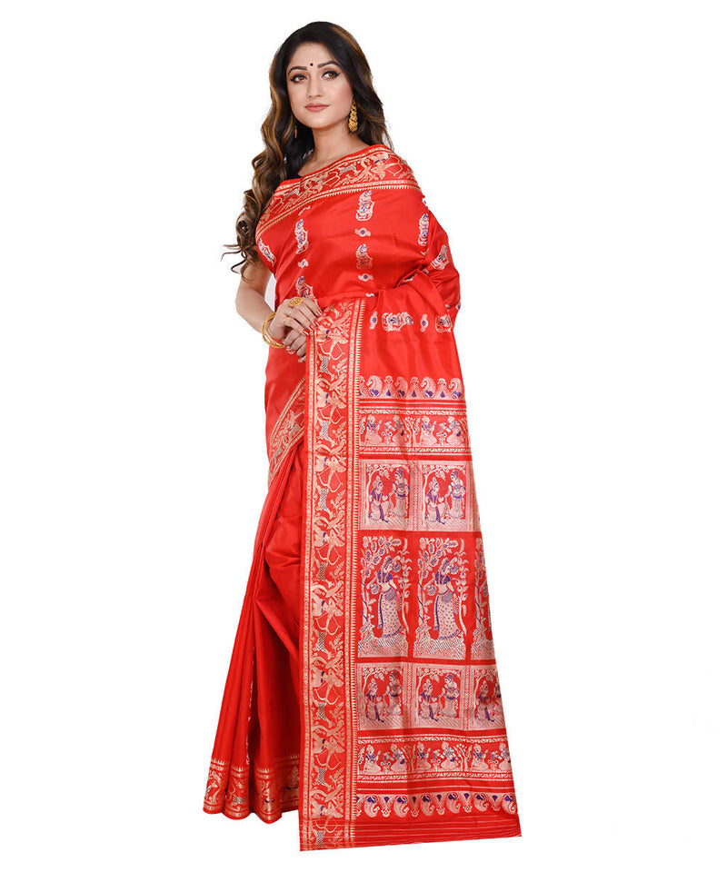 Red orange baluchari handwoven Silk Saree