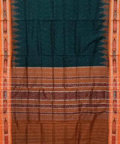 Bottle Green and Brown Nuapatna Handwoven Cotton Saree