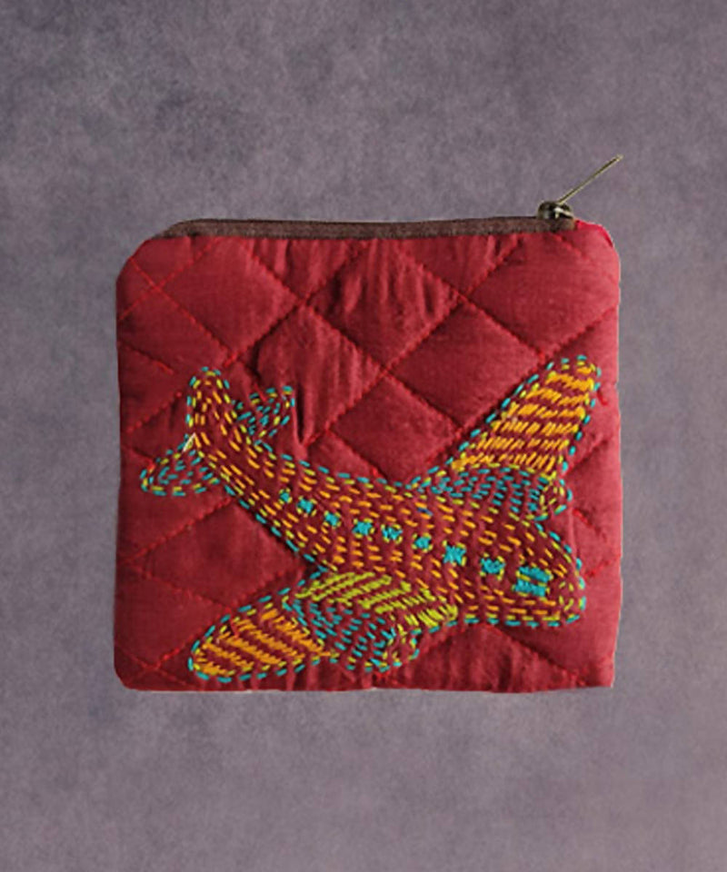Pink hand made kantha stitch silk coin purse
