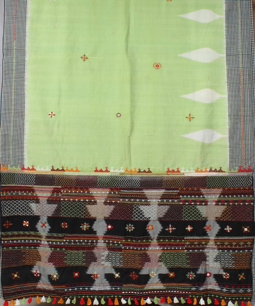 Green checks border hand embroidery cotton ikkat pochampally saree