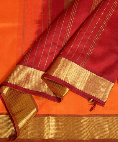 Orange and maroon kanjivaram silk cotton saree