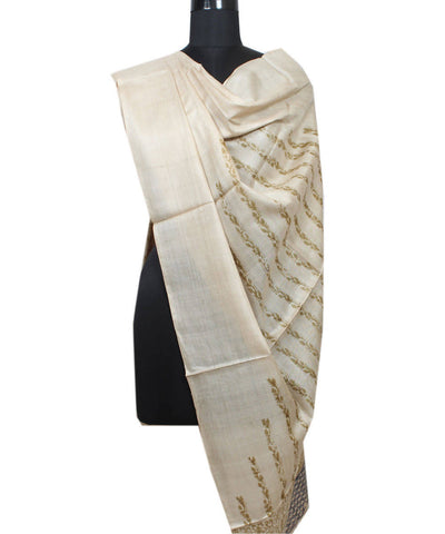 Beige with Green Handloom Tussar Silk Dupatta