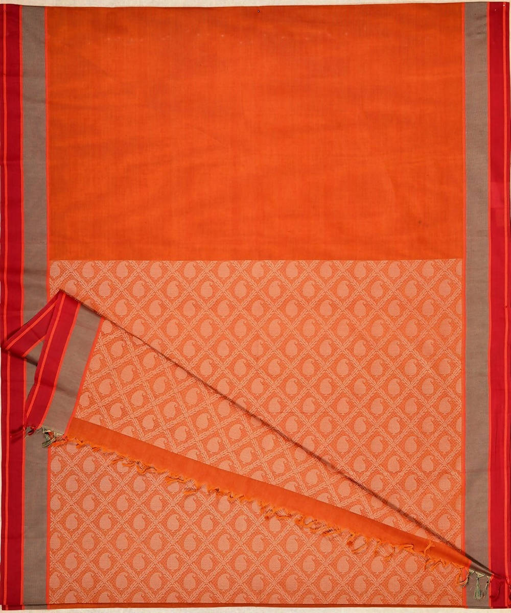 Rust Orange Handloom Kanchi Cotton Saree Threadwork Pallu