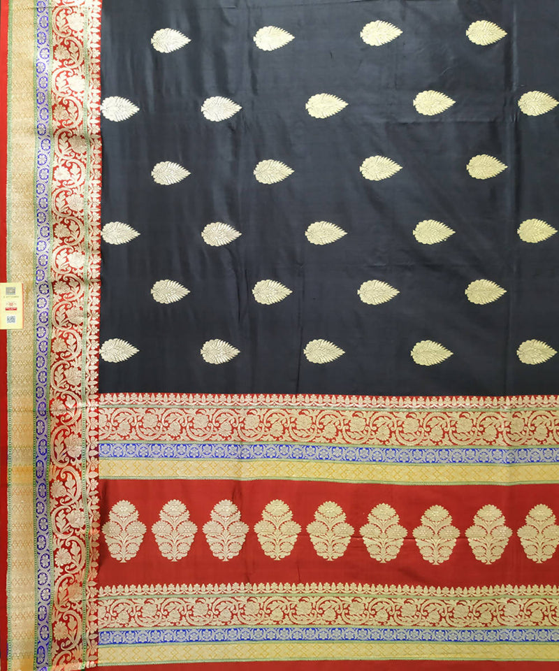 Banarasi black katan silk handwoven saree