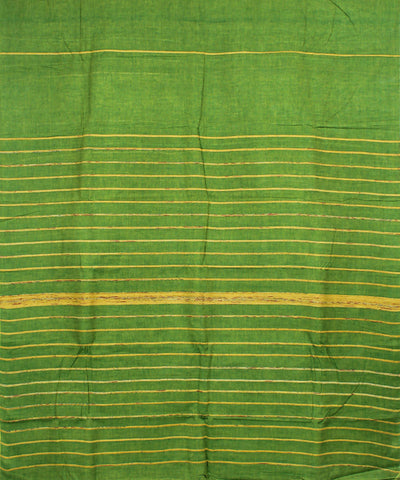 Parrot Green Kesh Cotton Khadi Handloom Saree