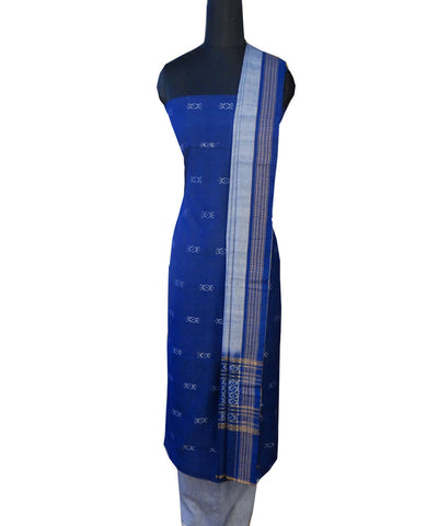 Blue Sambalpuri cotton Handwoven Dress Material