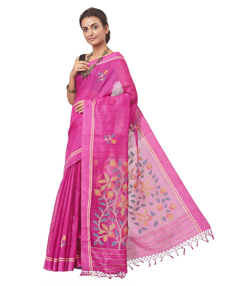 Biswa bangla handloom matka silk purple jamdani saree