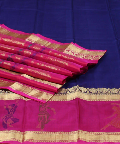 Navy Blue and Pink Khadi Handloom Silk Saree