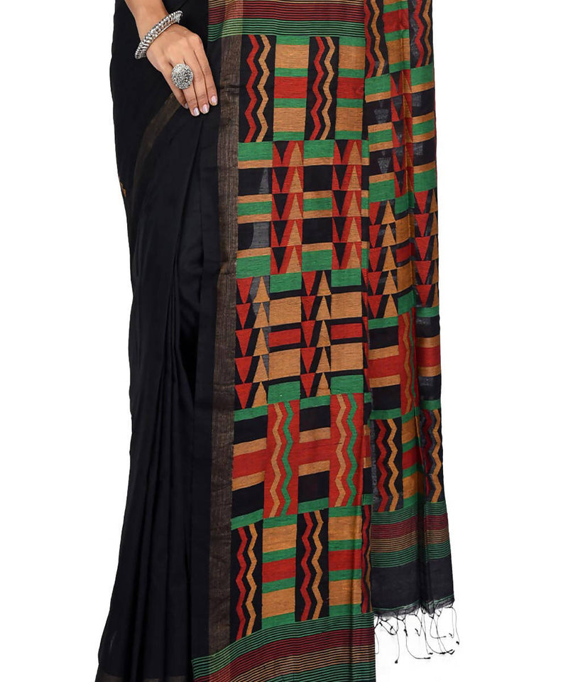Black handwoven bengal cotton silk saree