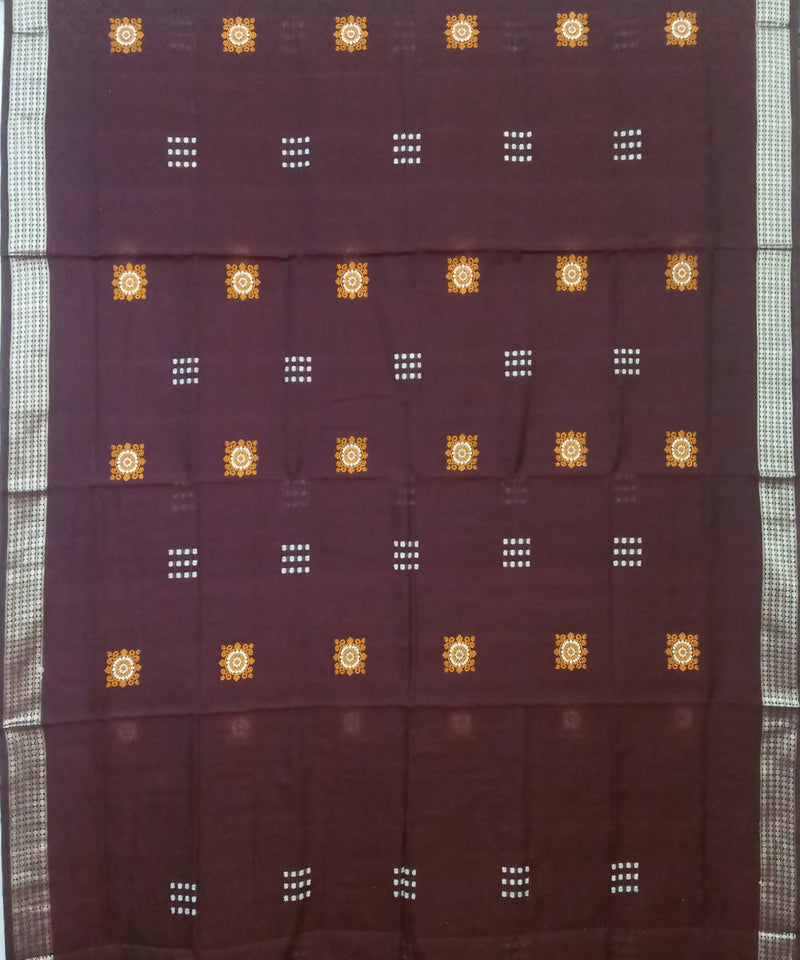 Maroon and Black Handloom Bomkai Cotton Saree