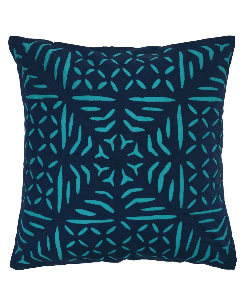 Navy and Turquoise Handwoven Cushion Cover