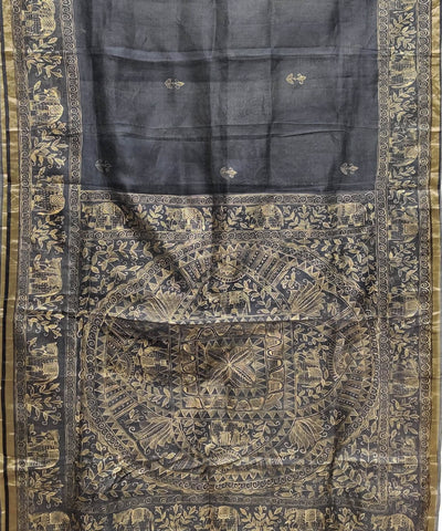 Madhubani Charcoal Black Hand Painted Silk Saree