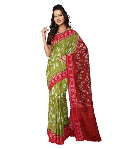 Handwoven Nuapatna Ikat Cotton Saree in Mehendi Green and Red