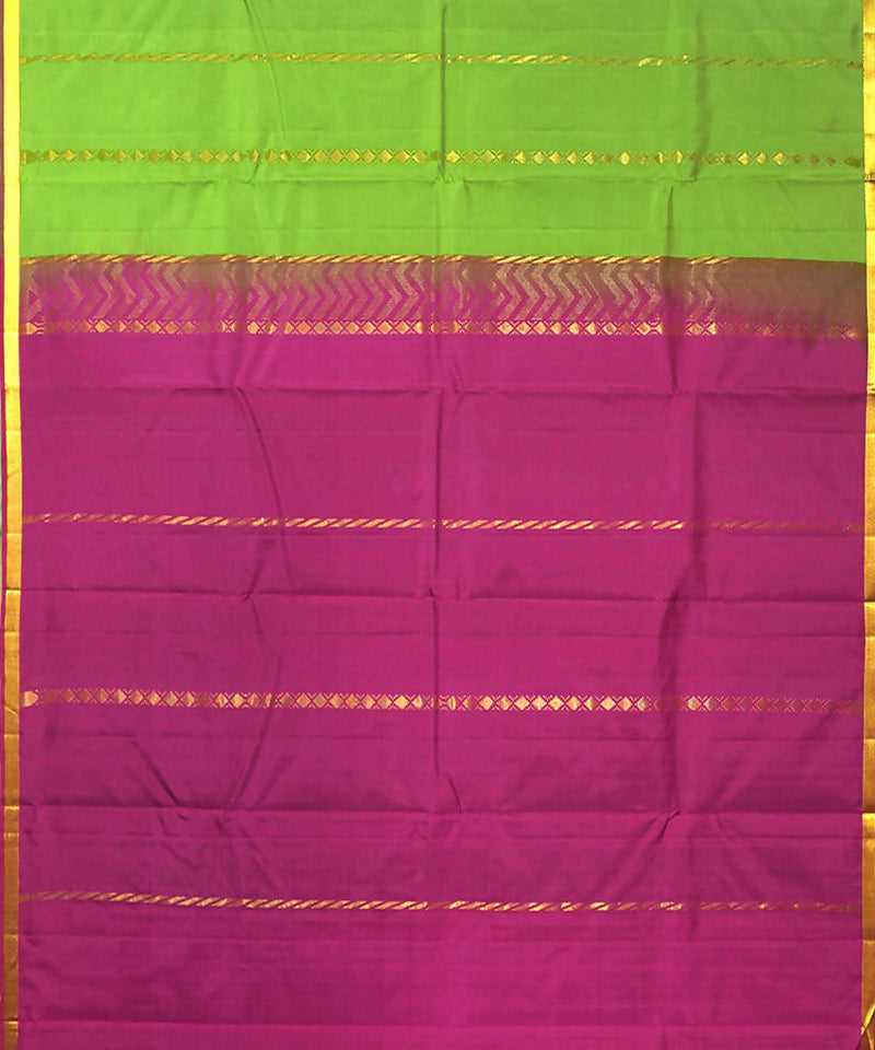 Green Purple Handloom Rasipuram Silk Saree