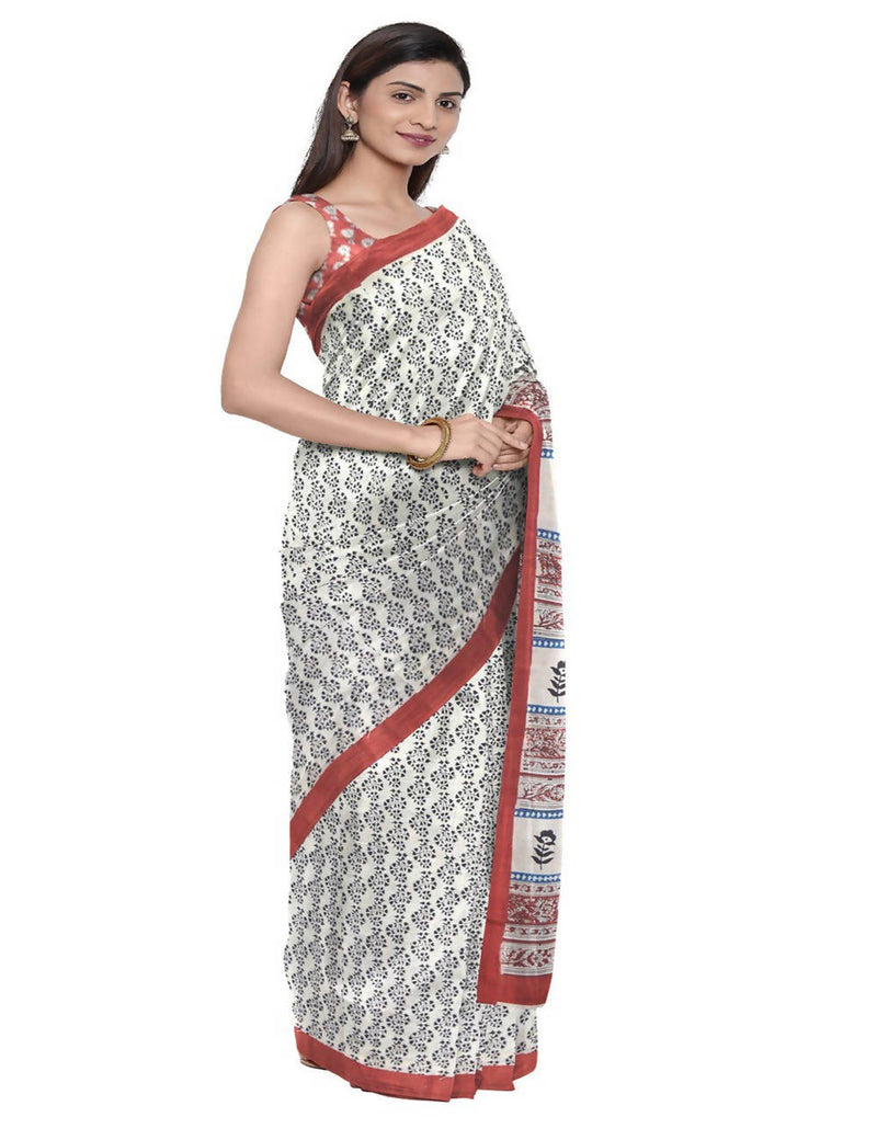 White Handloom Handblock Print Cotton Saree