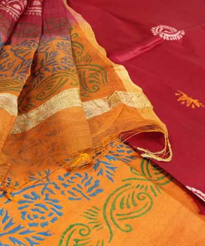 Khadi Nation Red and Yellow Printed Handwoven Tussar Dress Material