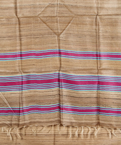Khadi Nation Blue and Pink Striped Handwoven Tussar Silk Dress Material