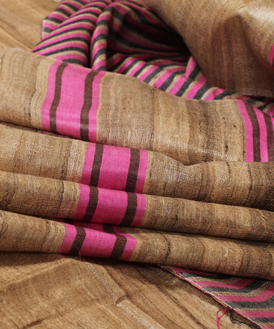 Khadi Nation Black and Pink Striped Handwoven Tussar Silk Dress Material