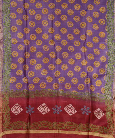 Khadi Nation Purple and Red Printed Handwoven Silk Dress Material