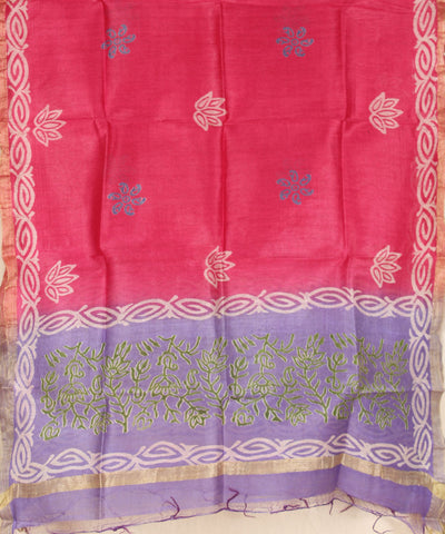 Khadi Nation Purple and Pink Printed Handwoven Silk Dress Material