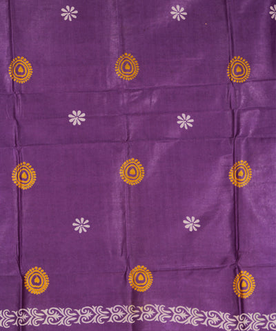 Khadi Nation Purple and Orange Printed Handwoven Silk Dress Material