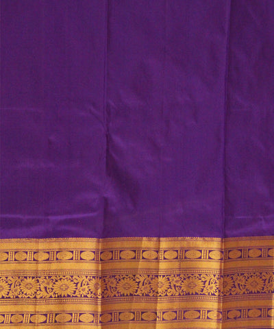 Khadi Nation Double Shaded Electric Blue and Pink Handwoven Silk Saree
