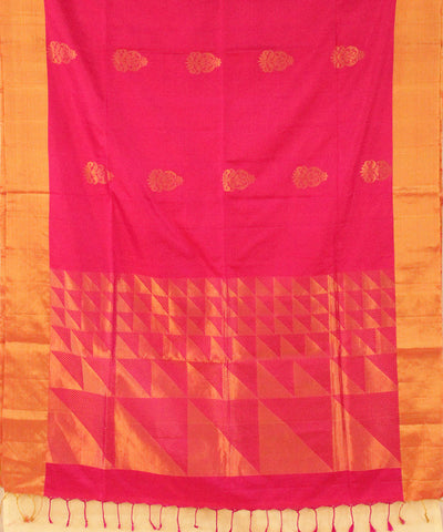 Khadi Nation Pink and Golden Handwoven Silk Saree