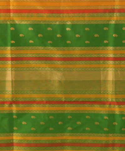 Khadi Nation Mustard Yellow and Green Handwoven Silk Saree with Peacock Motif
