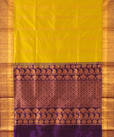 Khadi Nation Parrot Green and Blue Handwoven Silk Saree