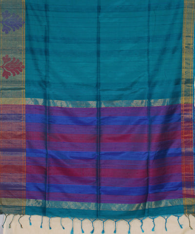 Khadi Nation Sky Blue Striped Handwoven Silk Saree
