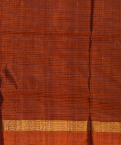 Khadi Nation Purple Striped and Mustard Brown Handwoven Silk Saree
