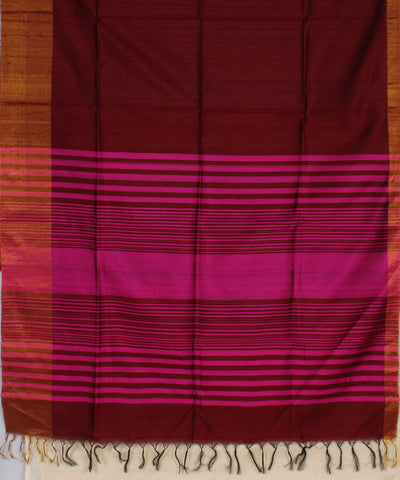 Khadi Nation Brown and Pink Striped Handwoven Raw Silk Saree