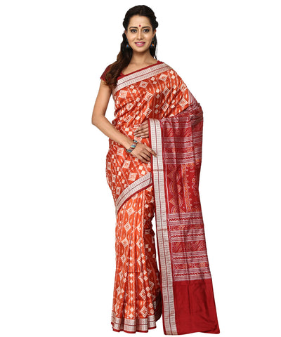 Unique Brick And Maroon Handwoven Traditional Pasapalli Ikat tie And dye Silk Saree