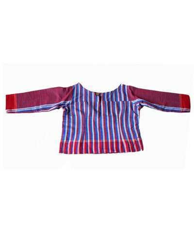 Blue Red Stripes Handloom Gamcha Checks Cotton Crop Top Blouse