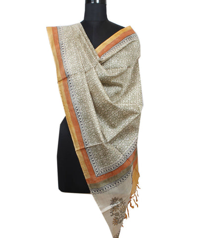 Beige and Green Handloom Tussar Silk Dupatta