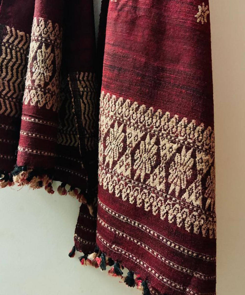 Maroon natural dyed eri and muga silk handwoven stole