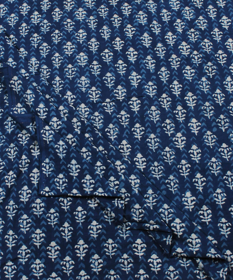 Indigo Floral Dabu Print Cotton Fabric